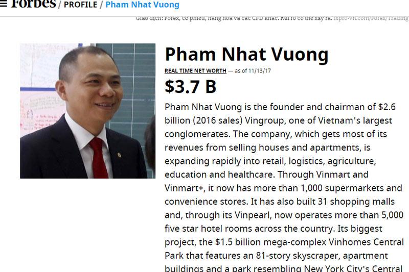 Lộ thêm tài sản 'khủng' của ông Phạm Nhật Vượng, vượt xa thống kê Forbes