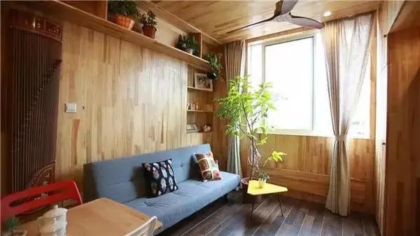 Phòng khách ấm cúng, đồ đạc bố trí ngăn nắp nhưng không thiếu chậu cây xanh cho không gian trở nên thoáng đãng hơn.