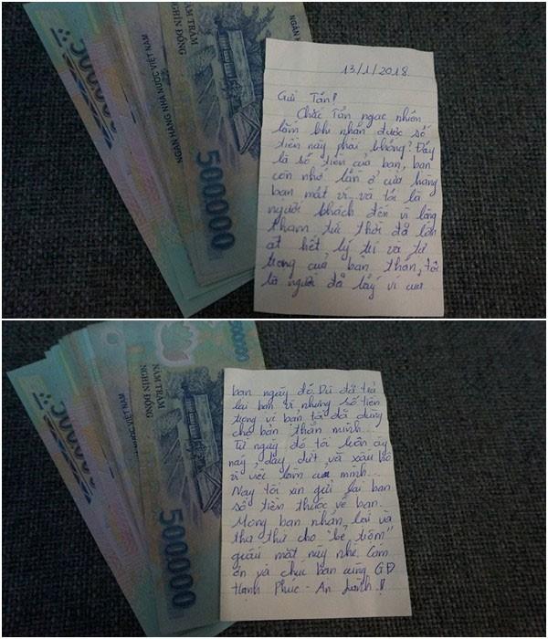 Xấp tiền và bức tâm thư của tên trộm được khổ chủ đăng tải lên Facebook - Ảnh: FB Tân Tân
